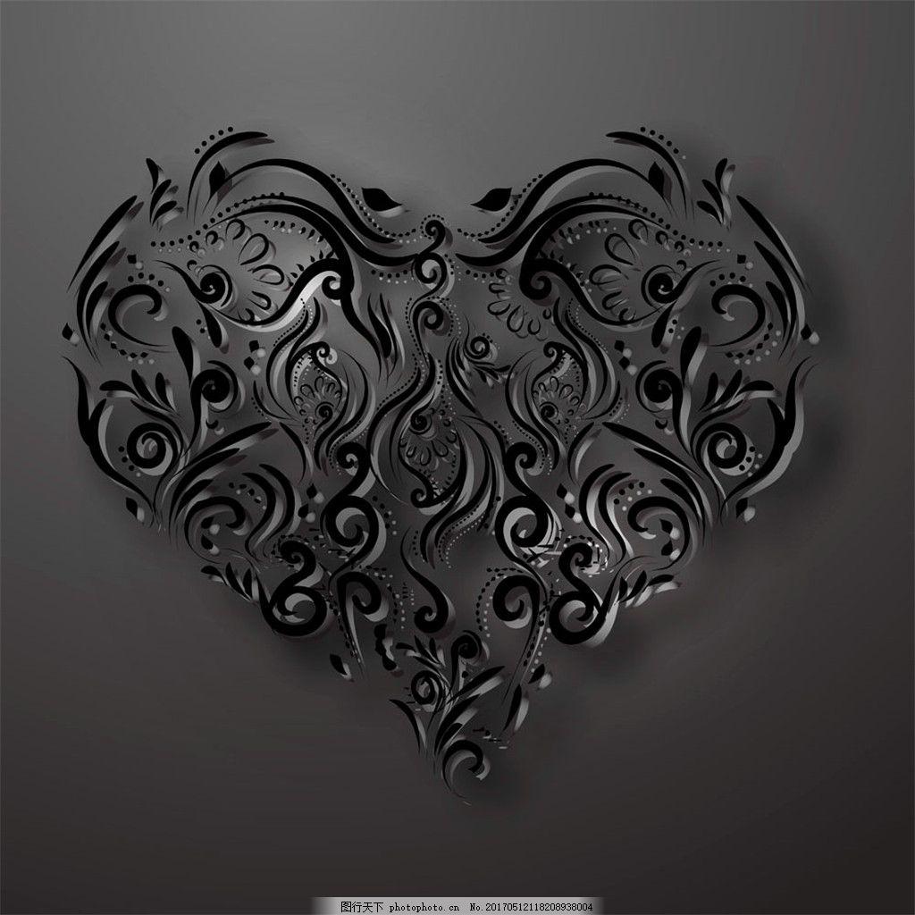 爱心花纹背景 广告设计 背景素材 素材免费下载 底纹背景 黑色