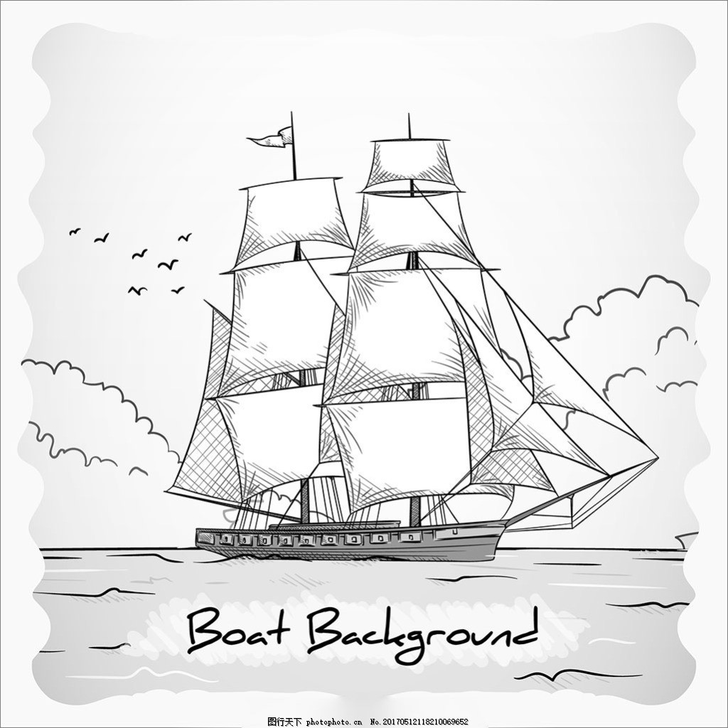 手绘素描风格黑白色船背景