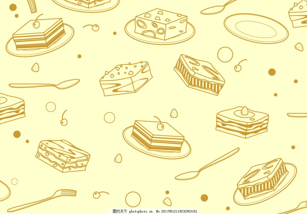 小清新手绘蛋糕背景