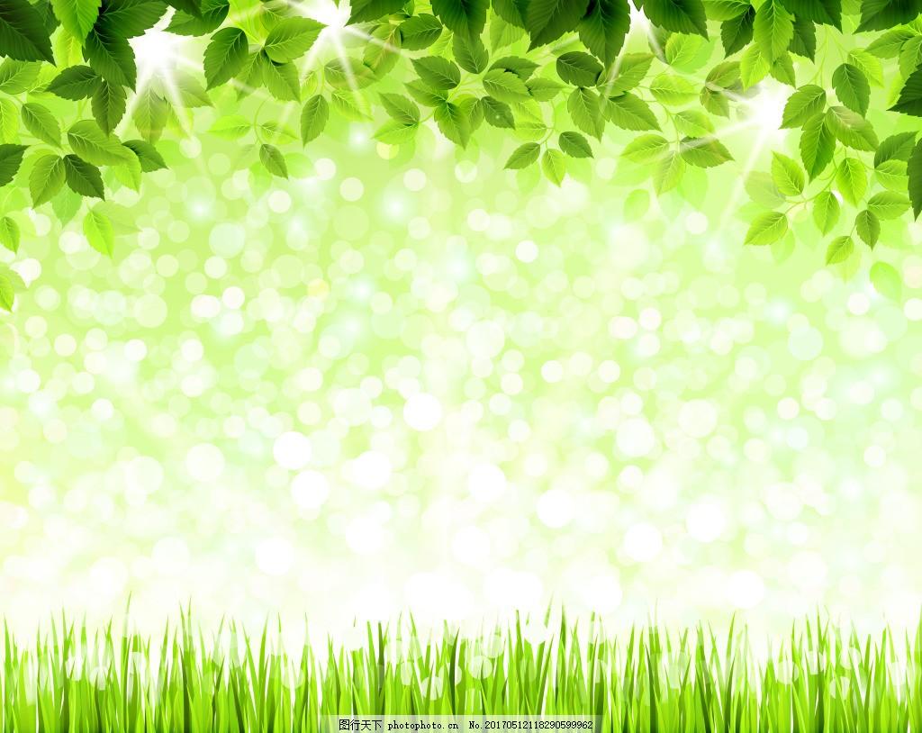 清新绿叶青草背景