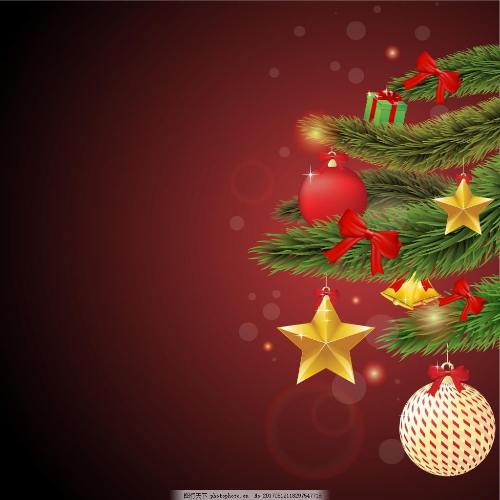 金色五角星圣诞树枝背景