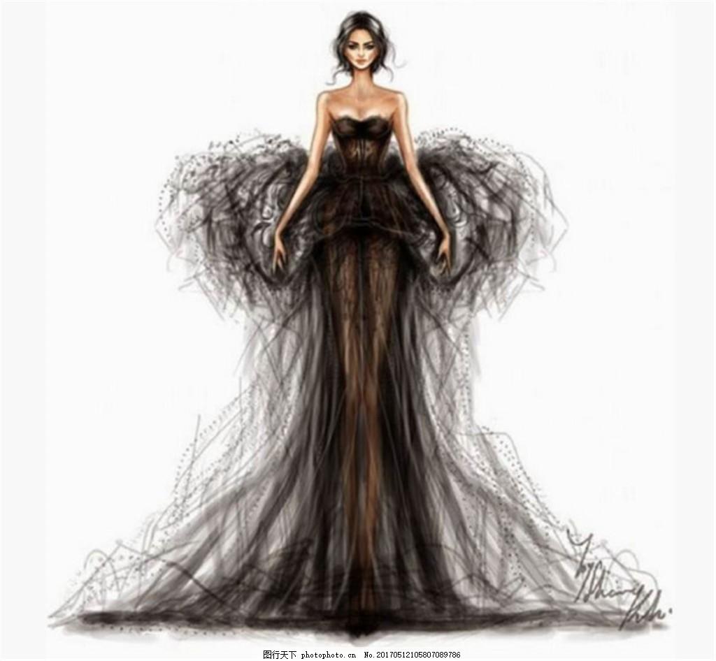 黑色抹胸礼服设计图