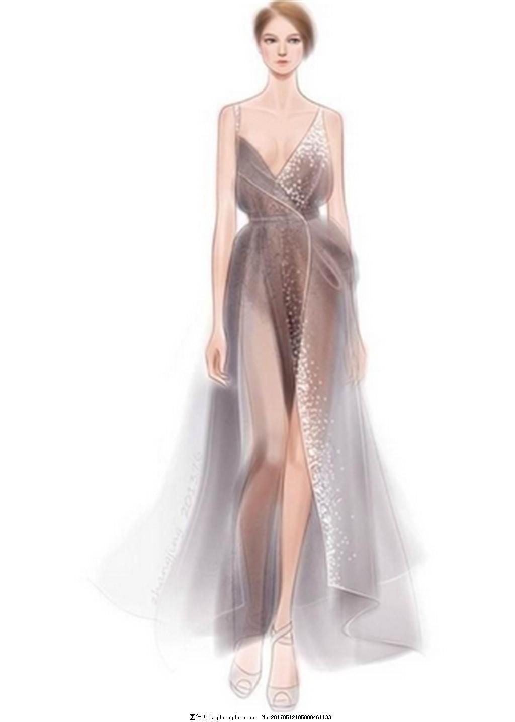 性感吊带礼服设计图