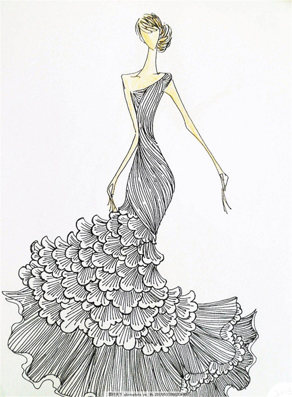 设计图库 现代科技 服装设计  单肩竖条礼服设计图 服装设计 时尚女装
