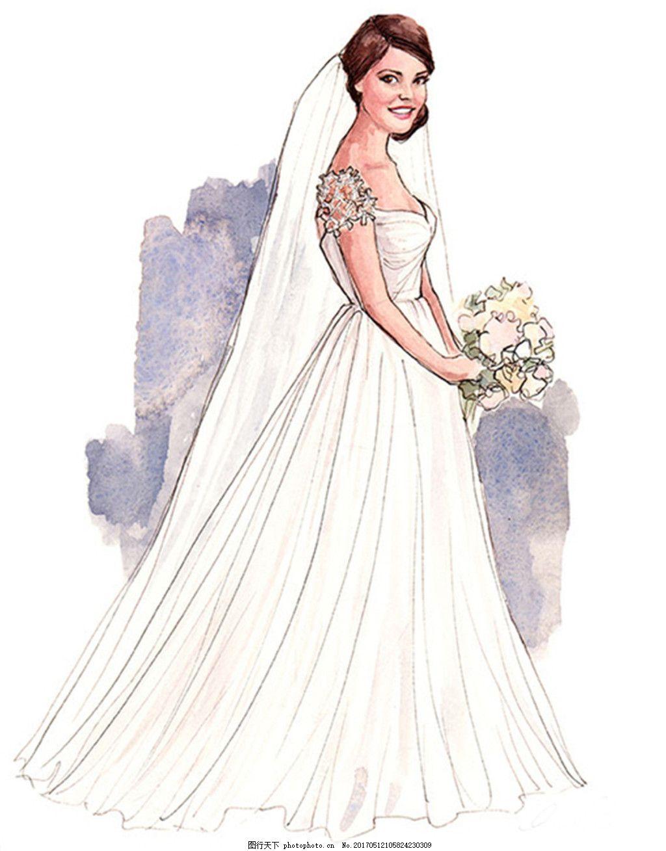 女装设计 服装效果图 连衣裙 长裙 婚纱 礼服 手绘婚纱