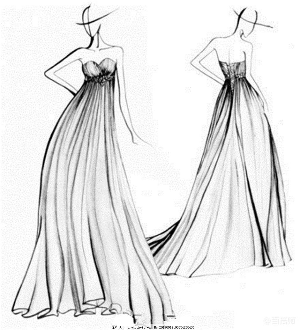 休闲抹胸婚纱长裙设计图