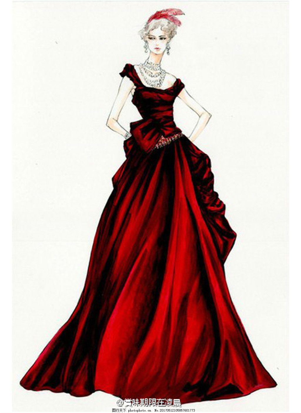 红色背心长裙设计图