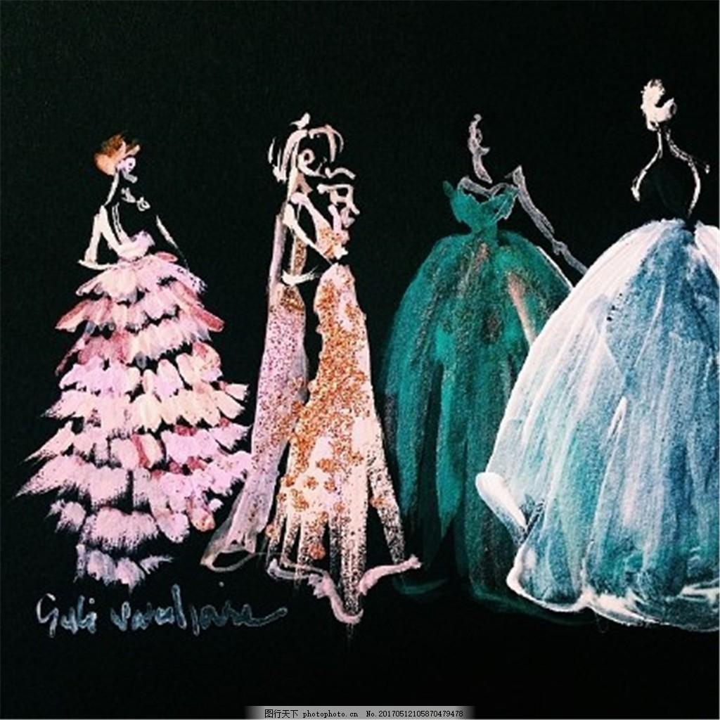 4款时尚婚纱设计手绘图 服装设计 时尚女装 职业女装 女装设计效果图