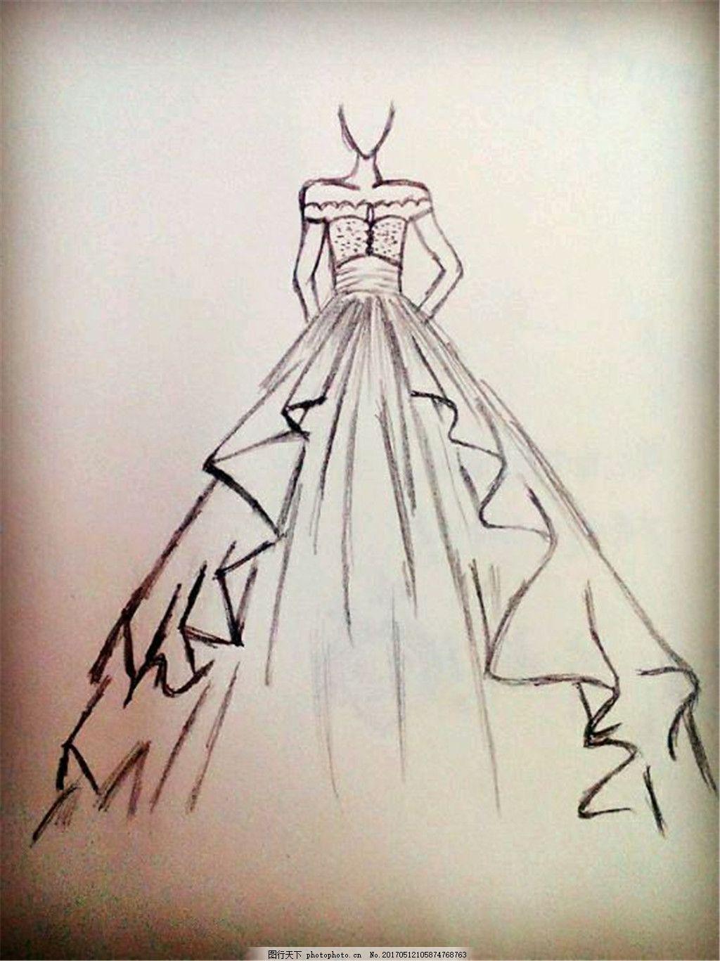 露肩婚纱设计图 时尚女装 职业女装 女装设计效果图 短裙 服装图片
