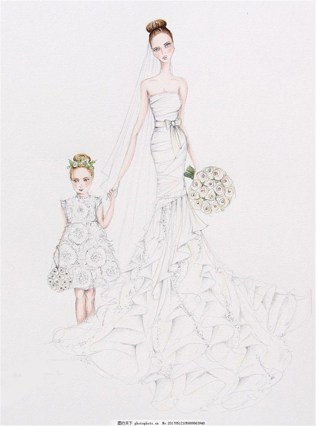 亲子婚纱设计图 亲子装 职业女装 女装设计效果图 短裙 服装图片免费