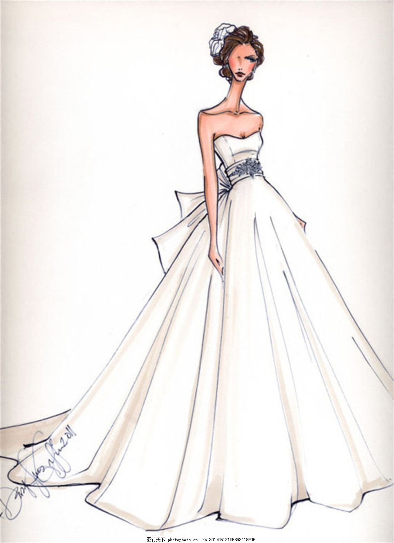 抹胸长裙礼服设计图 时尚女装 职业女装 职业装 女装设计效果图