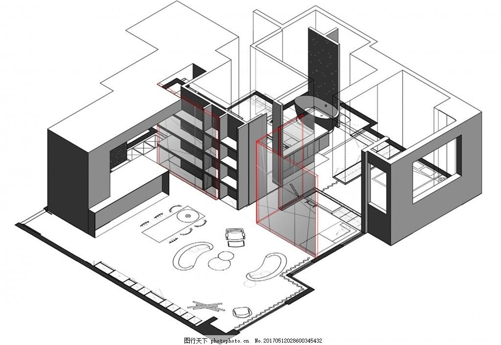 简约室内装修手稿3d立体图 家居 家居生活 室内设计 家具 装修设计图片