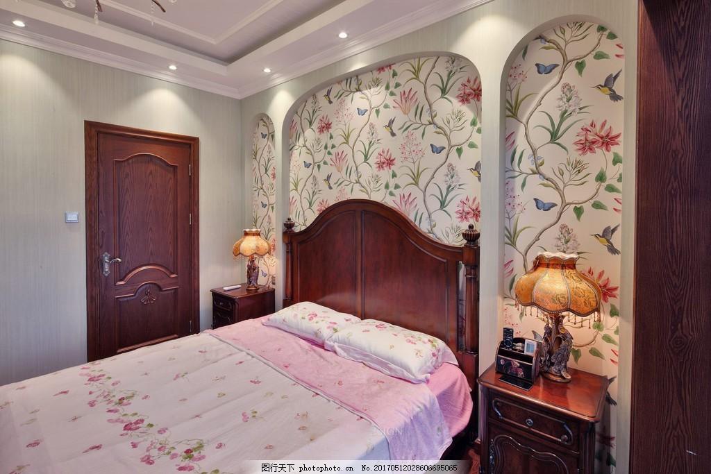 小清新卧室背景墙设计图 家居 家居生活 室内设计 装修 室内 家具