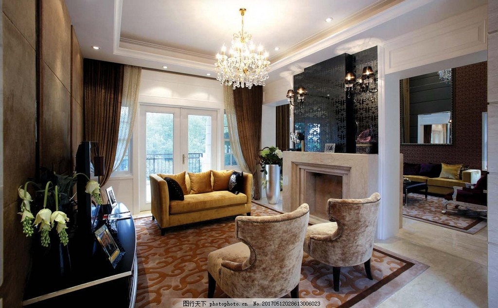 欧式客厅沙发落地窗设计图