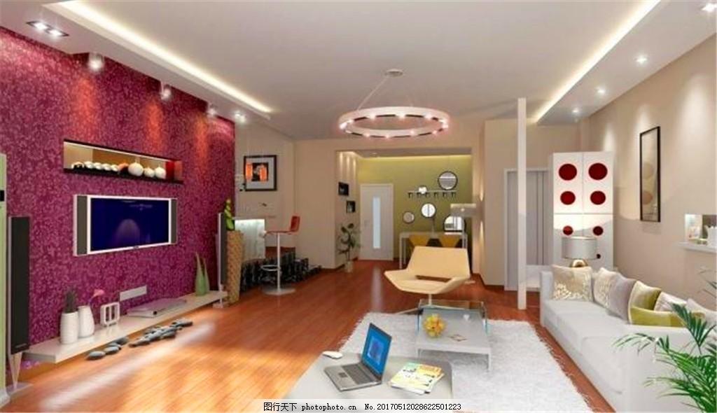欧式现代客厅装修效果图 灯饰 豪华装修 沙发 温馨 影视墙 装修格调
