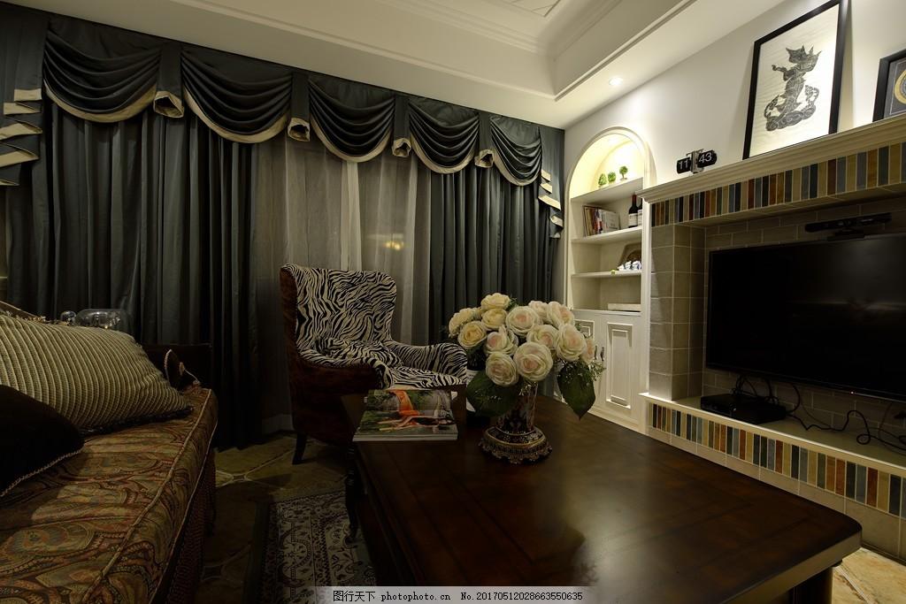 美式客厅窗帘设计图 家居 家居生活 室内设计 装修 家具 装修设计