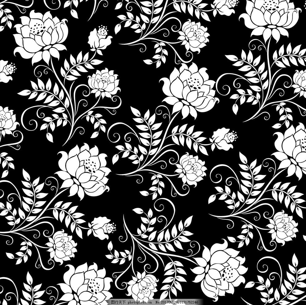 黑白手绘花瓣背景
