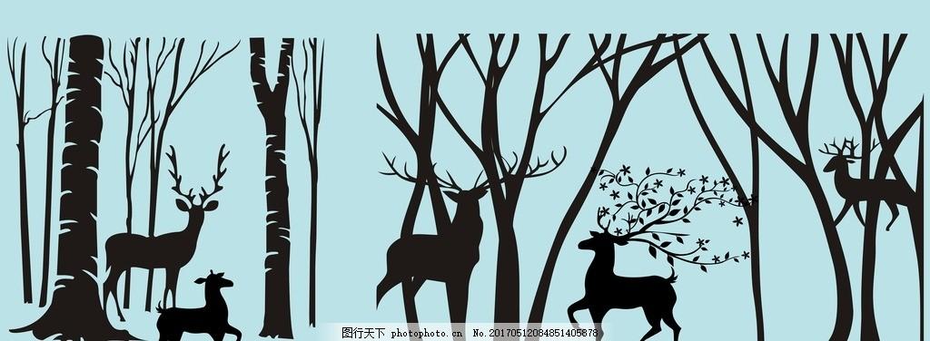 手绘麋鹿森林 矢量树枝 黑白 梅花鹿 动漫动画 动漫人物