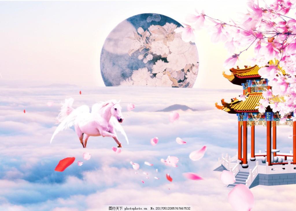 桃花 花瓣 亭子 圆月 古风 手绘 中国风 大气 天空 云朵 幻想 诗意