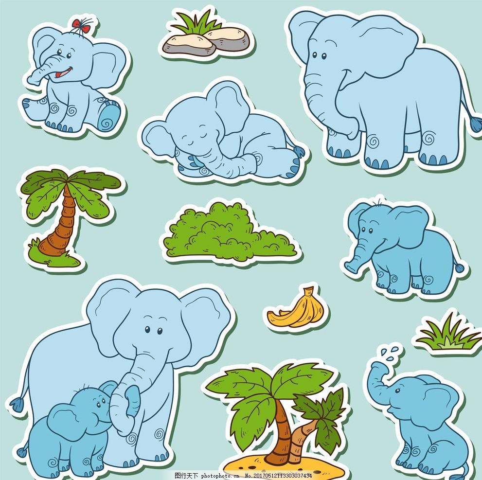 卡通大象动物矢量 矢量手绘 卡通动物公仔 动物形象 插画 猫头鹰 老虎