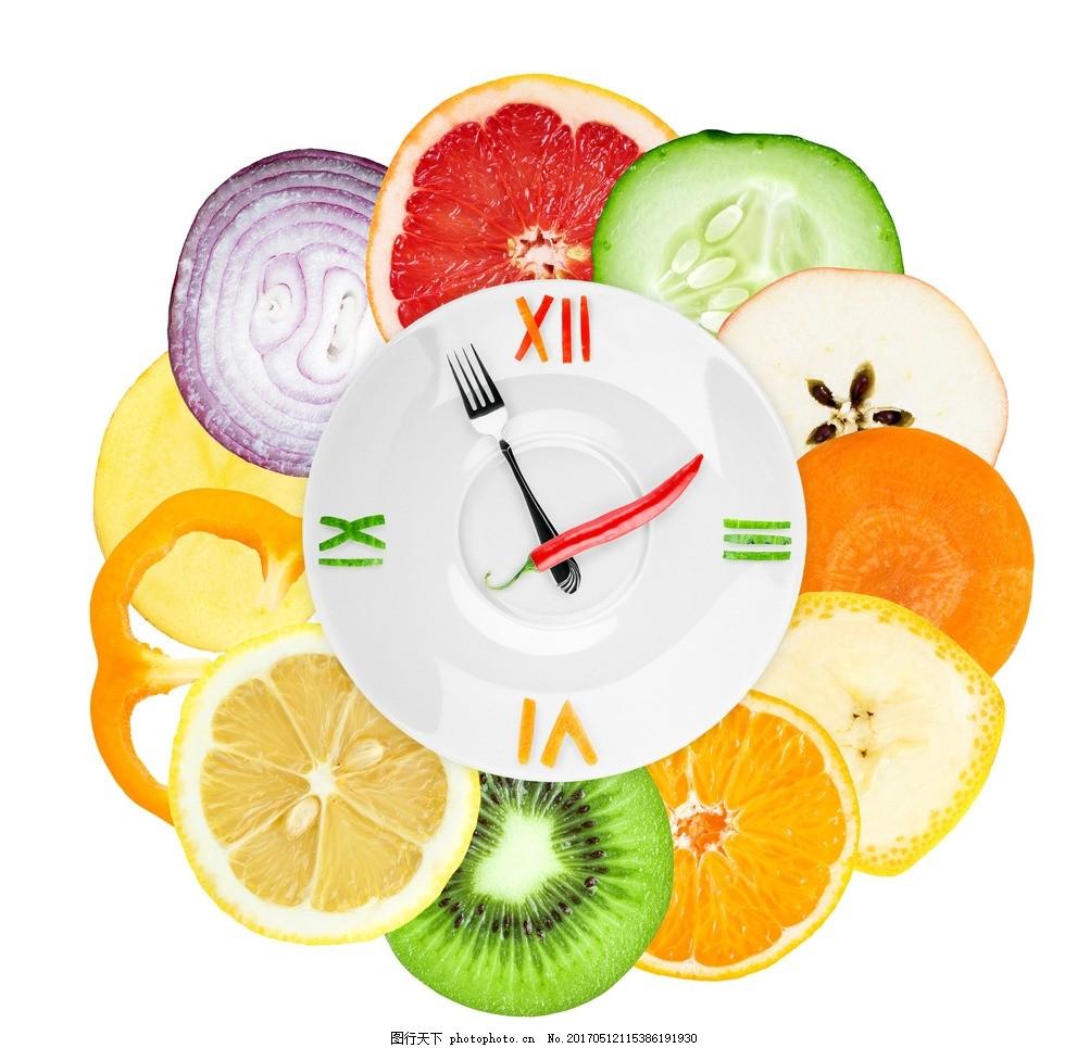 创意时钟水果拼盘 创意 时钟 水果 拼盘 多彩 美食 生鲜蔬菜 设计