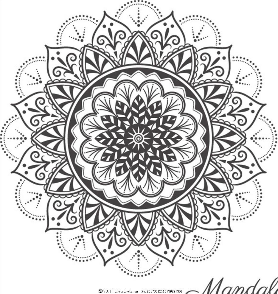 欧式圆形花纹底纹背景矢量素材 花朵底纹 曼陀罗花背景 黑色花纹