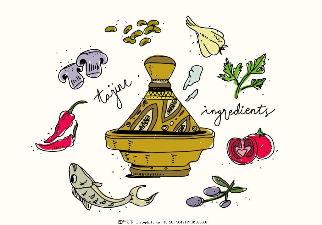 手绘火锅美食食物素材图片