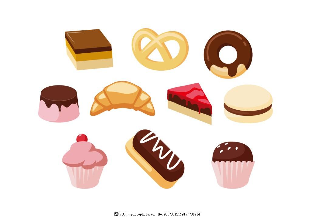 手绘甜品甜点美食 手绘美食 矢量素材 食物 手绘食物 甜品 甜点 手绘
