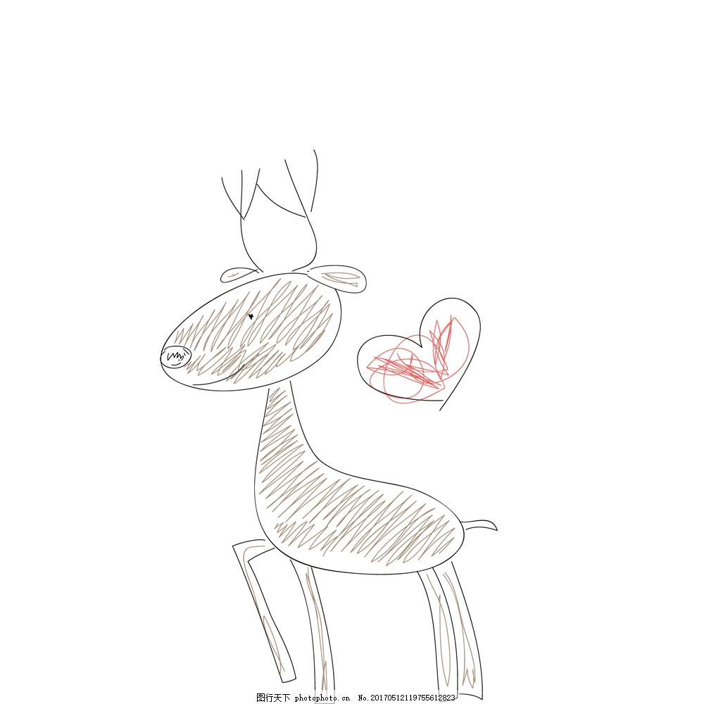 手绘可爱小鹿心形