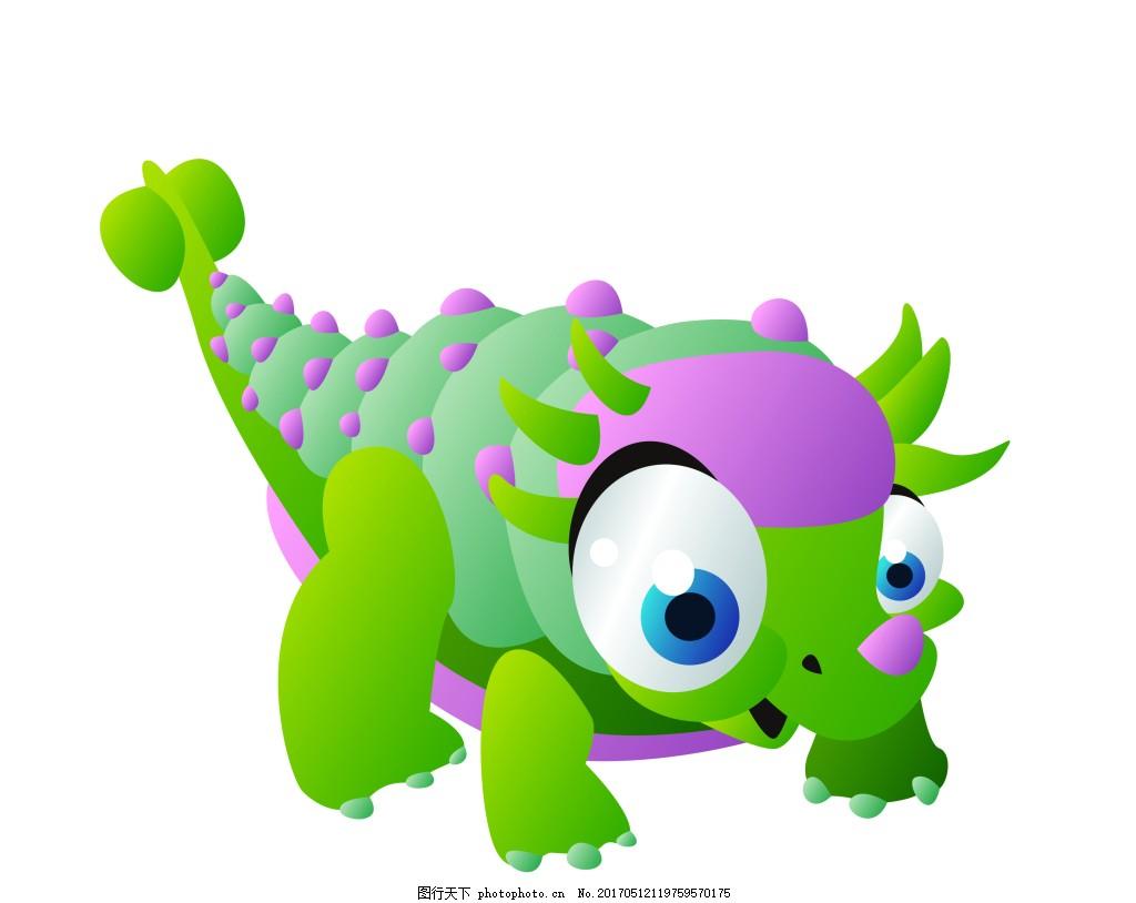 绿色卡通恐龙eps 可爱的卡通动物 矢量素材模板下载动物 矢量素材