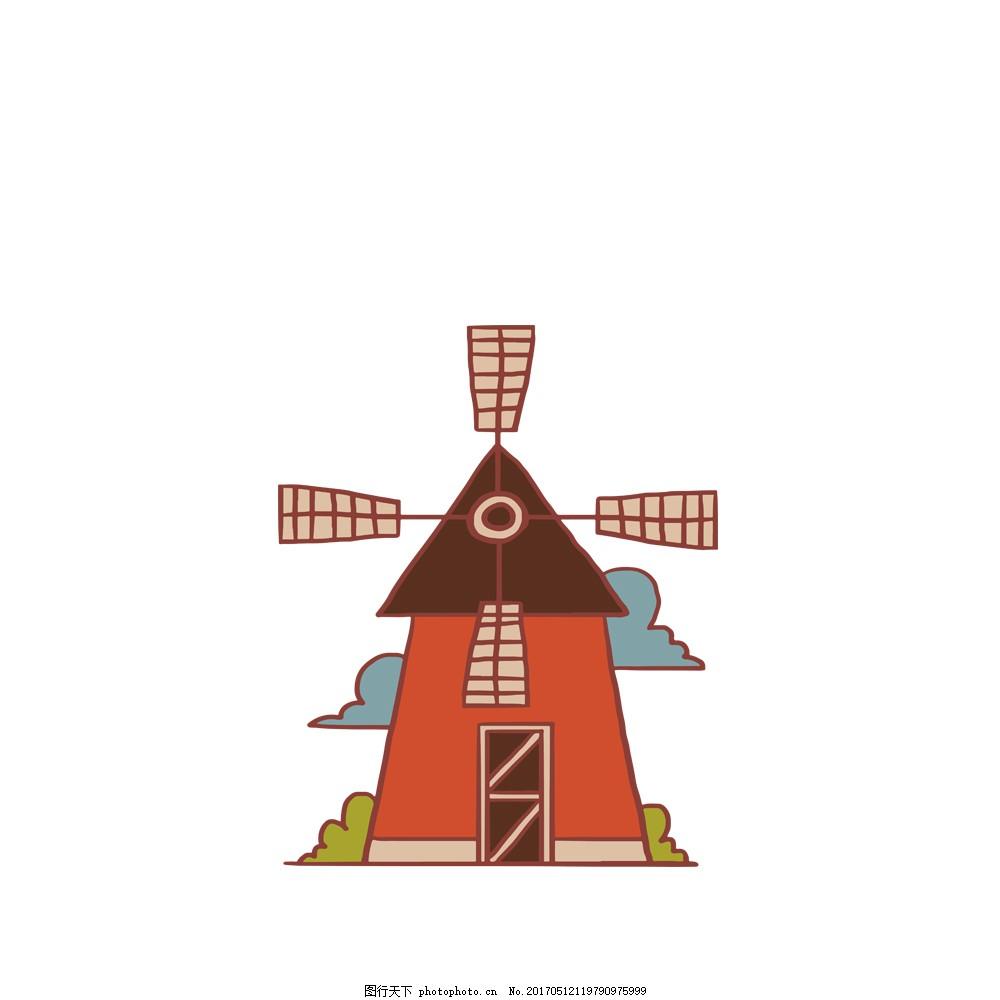 唯美风车 房子 建筑物