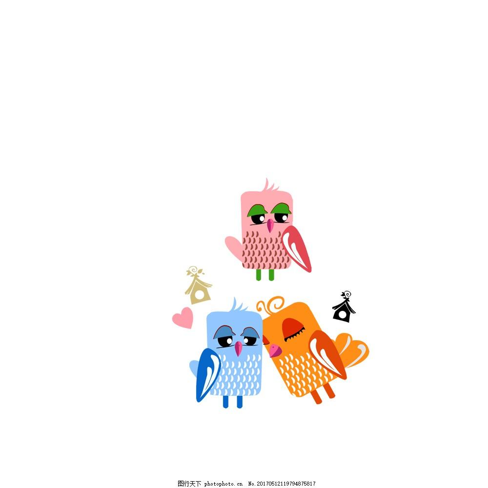 创意可爱手绘彩色卡通猫头鹰
