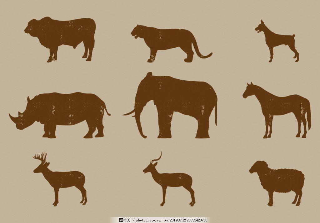 扁平非洲动物图标