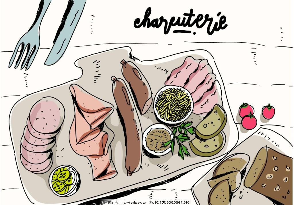 手绘肉类食物插画