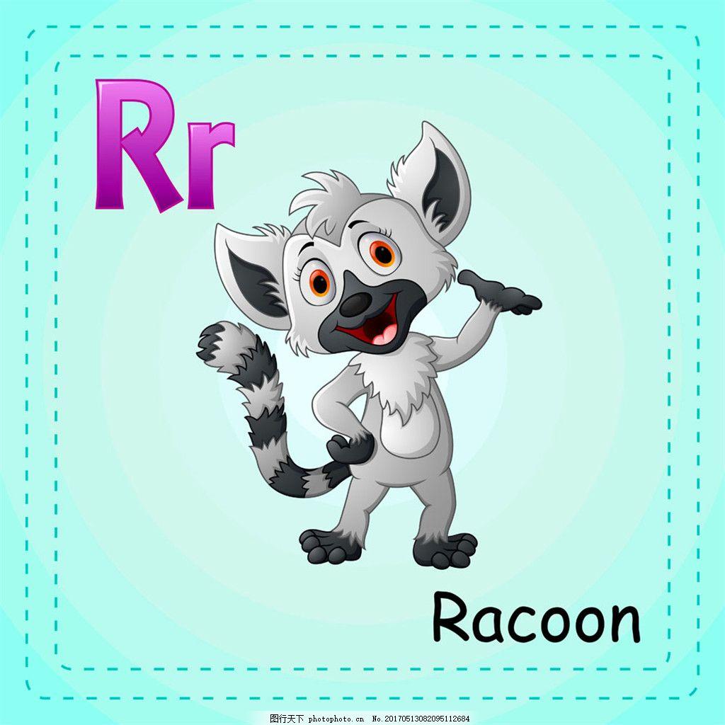 浣熊英语单词 浣熊英语单词矢量图片 陆地动物 漫画动物 卡通动物