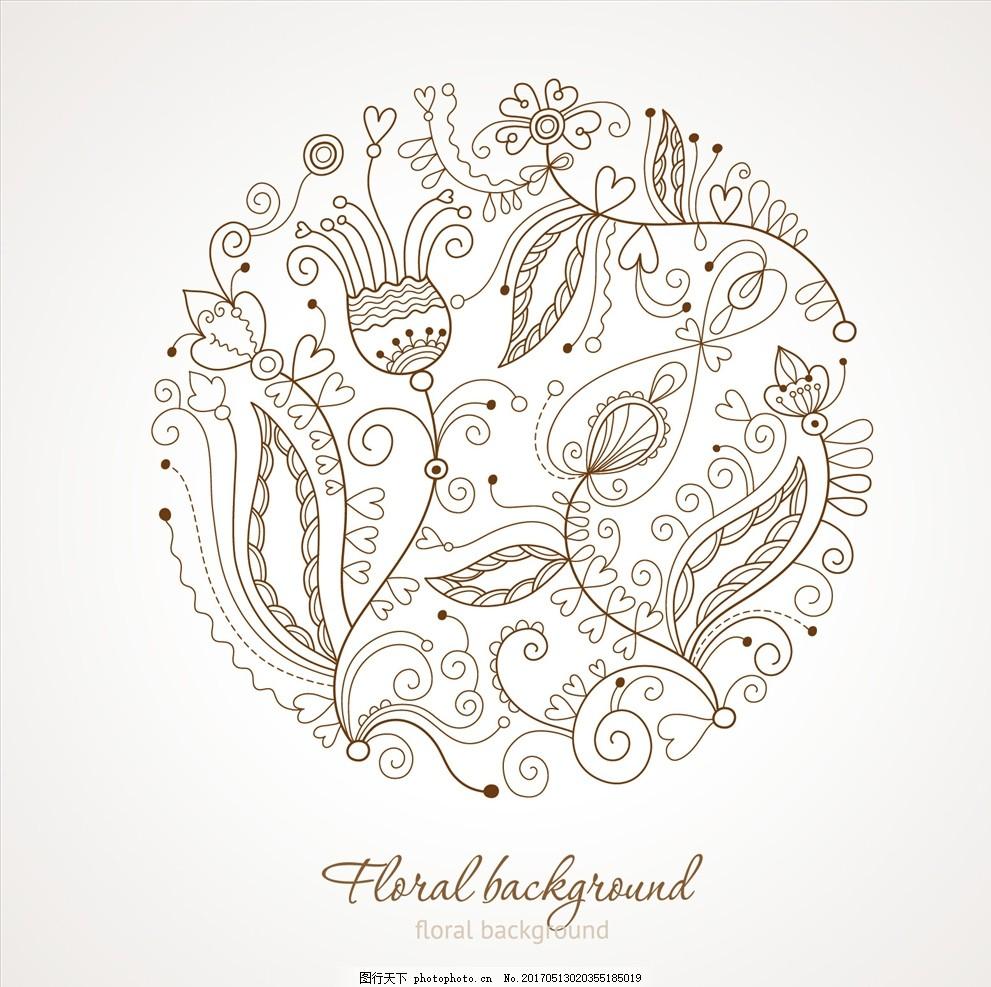 线面手绘花矢量 线描 矢量花卉 简约 现代 黑白 线描壁画 高档