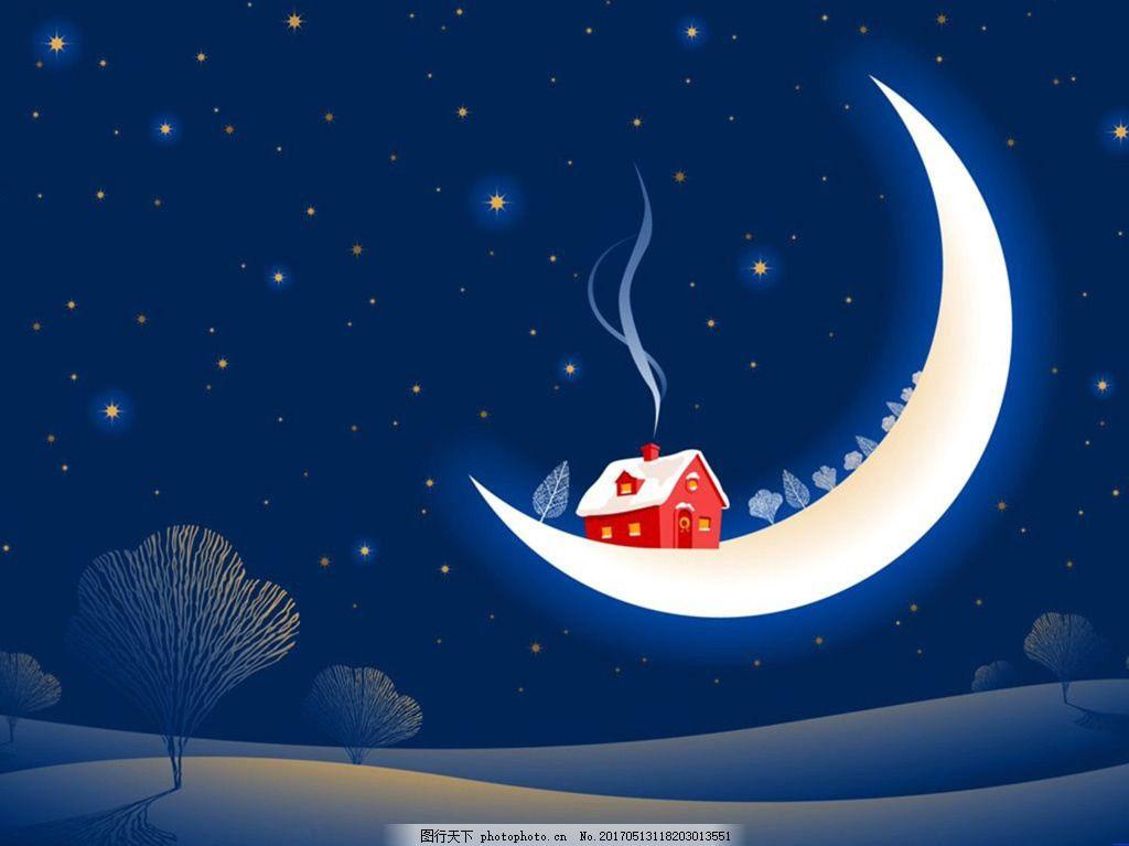 手绘卡通月亮背景