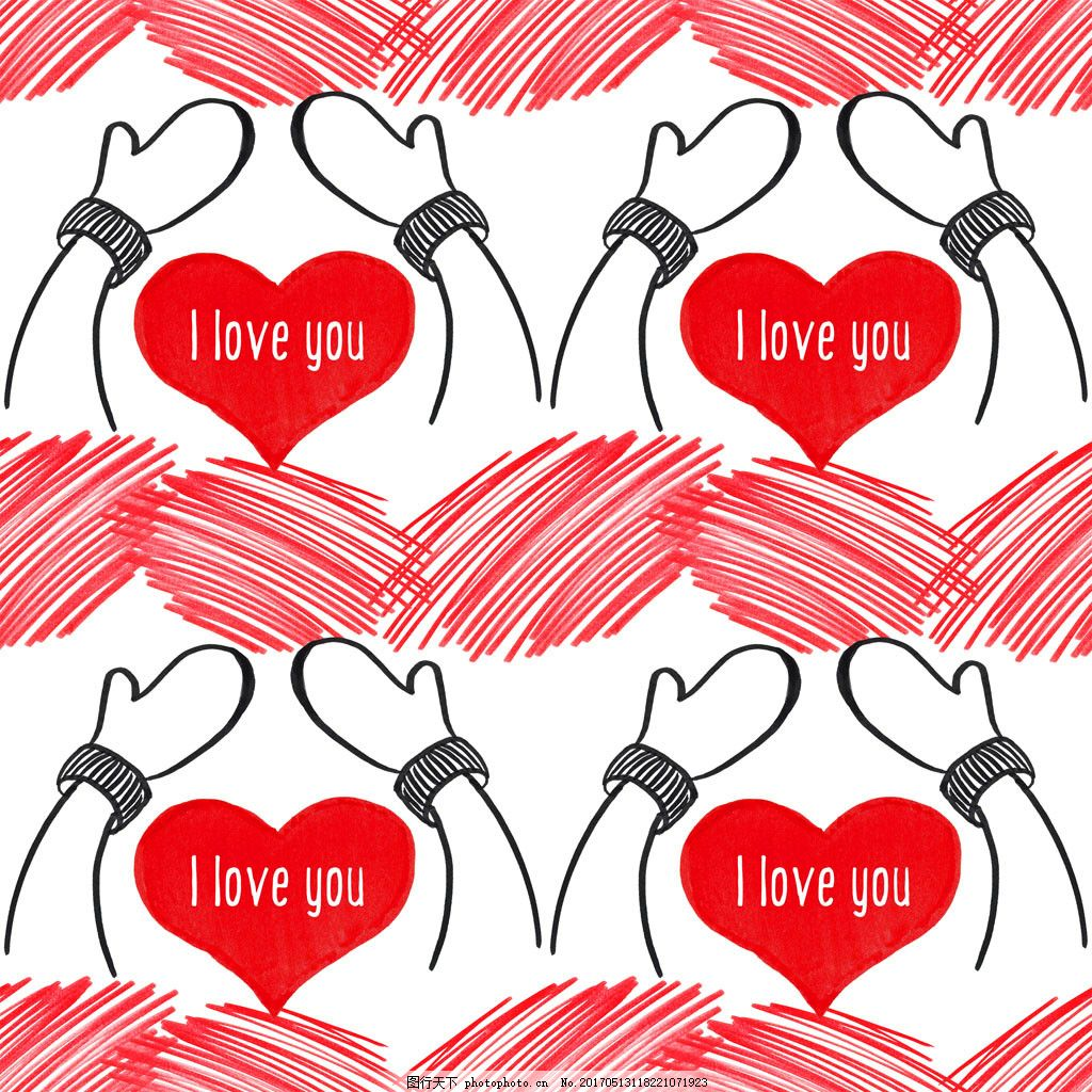 卡通双手爱心背景 广告设计 背景素材 素材免费下载 红色