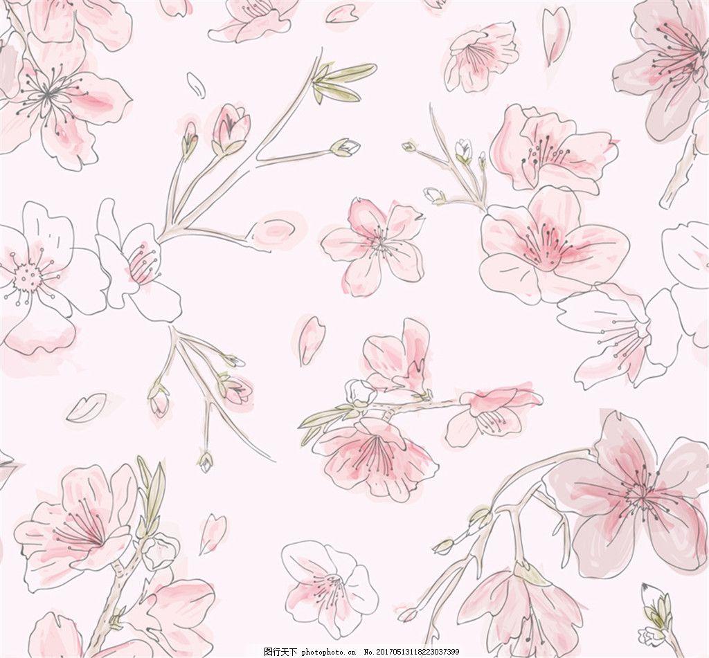 唯美粉色桃花无缝背景矢量素材 水彩桃花 手绘桃花 桃花背景图片