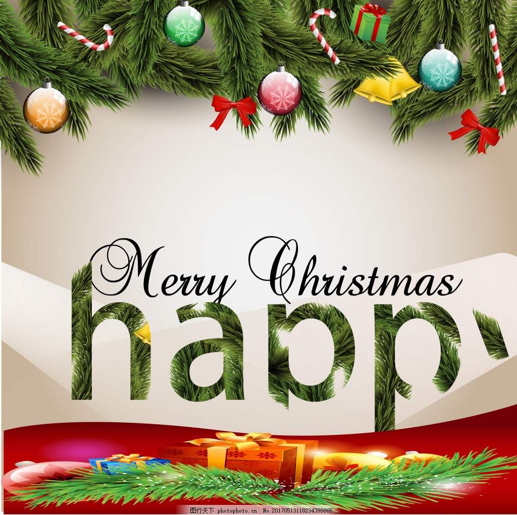圣诞装饰松叶背景