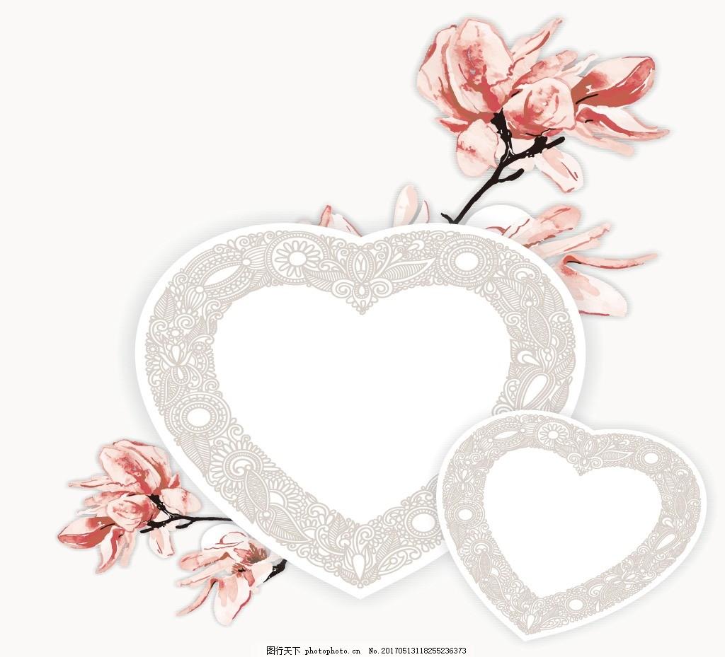手绘心形玫瑰背景