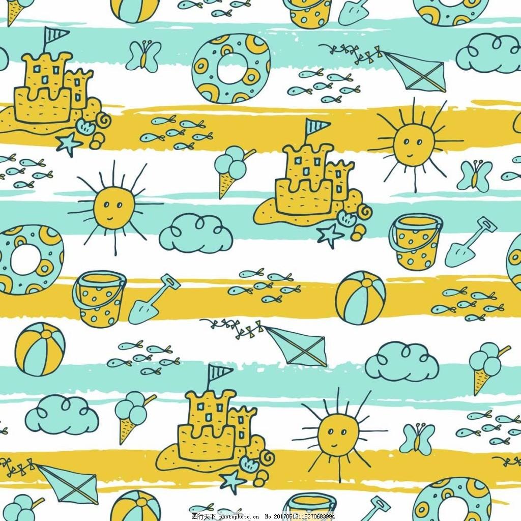 卡通城堡背景 儿童 可爱 卡通 城堡 太阳 背景 底纹