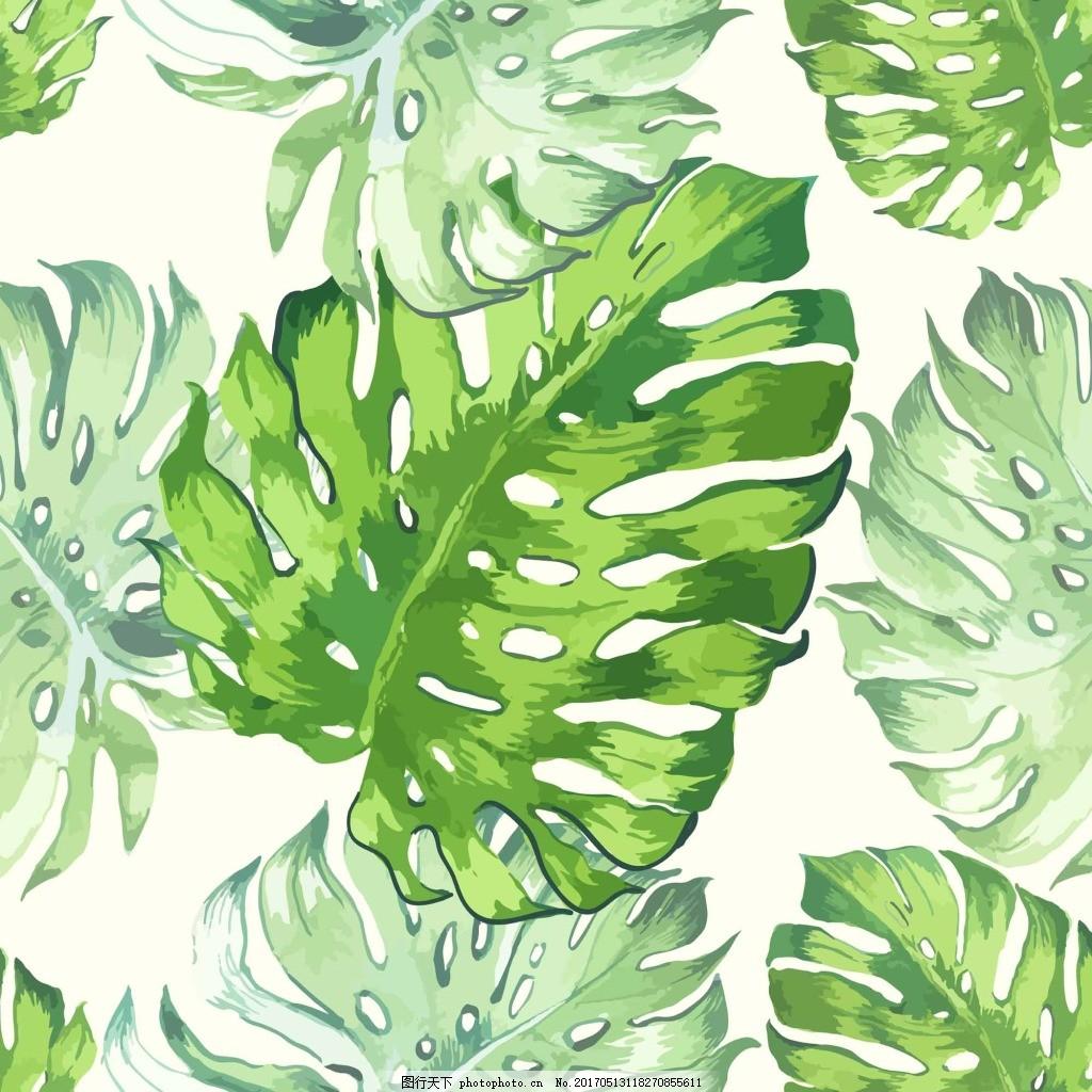 绿色小清新龟背竹背景 底纹 手绘 植物 绿色 清新 龟背竹 背景
