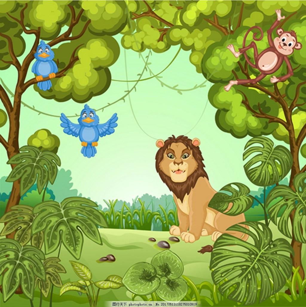 狮子背景 狮子 草地 森林 鹦鹉 猴子