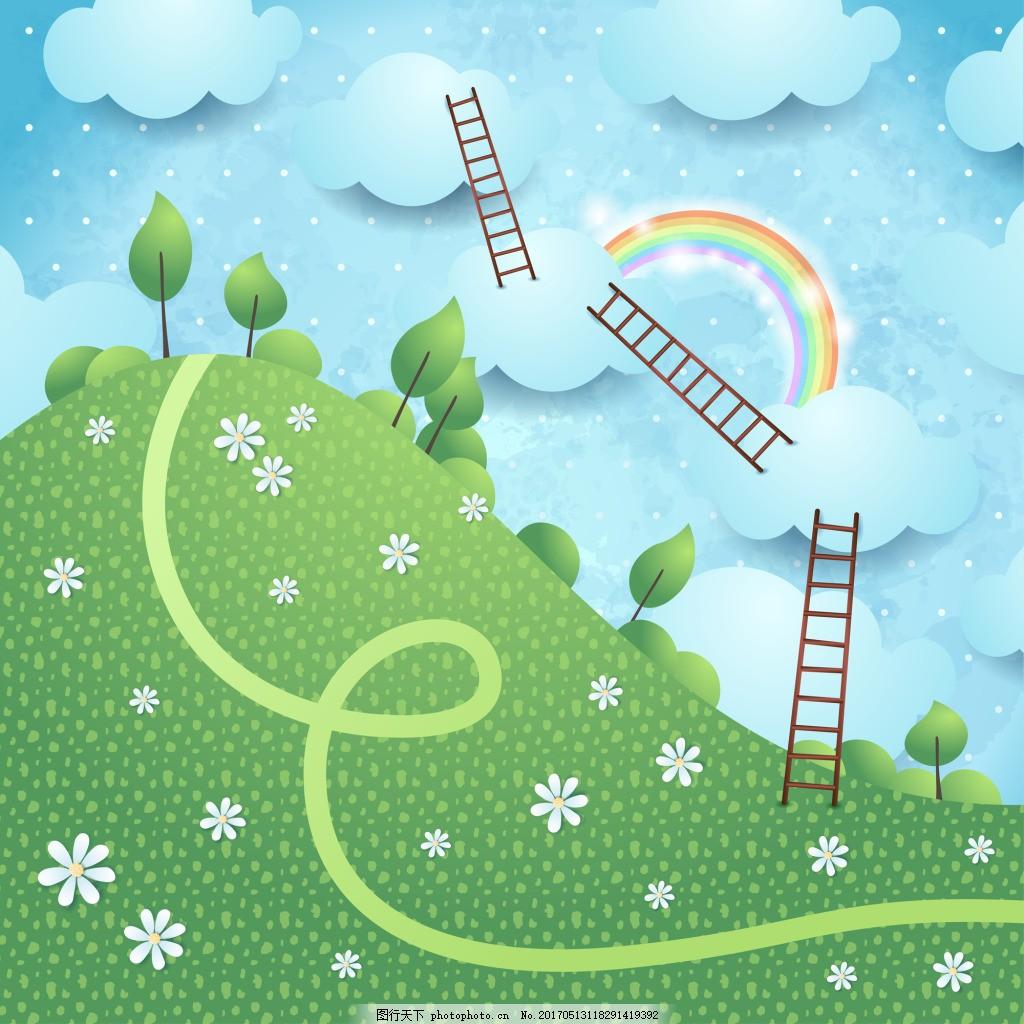 外景剪纸风格可爱房屋彩虹飞机风景矢量