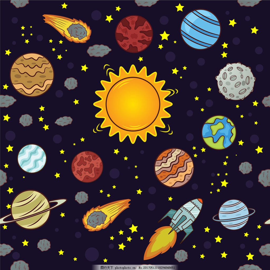 手绘各种太空星球火箭装饰图案背景