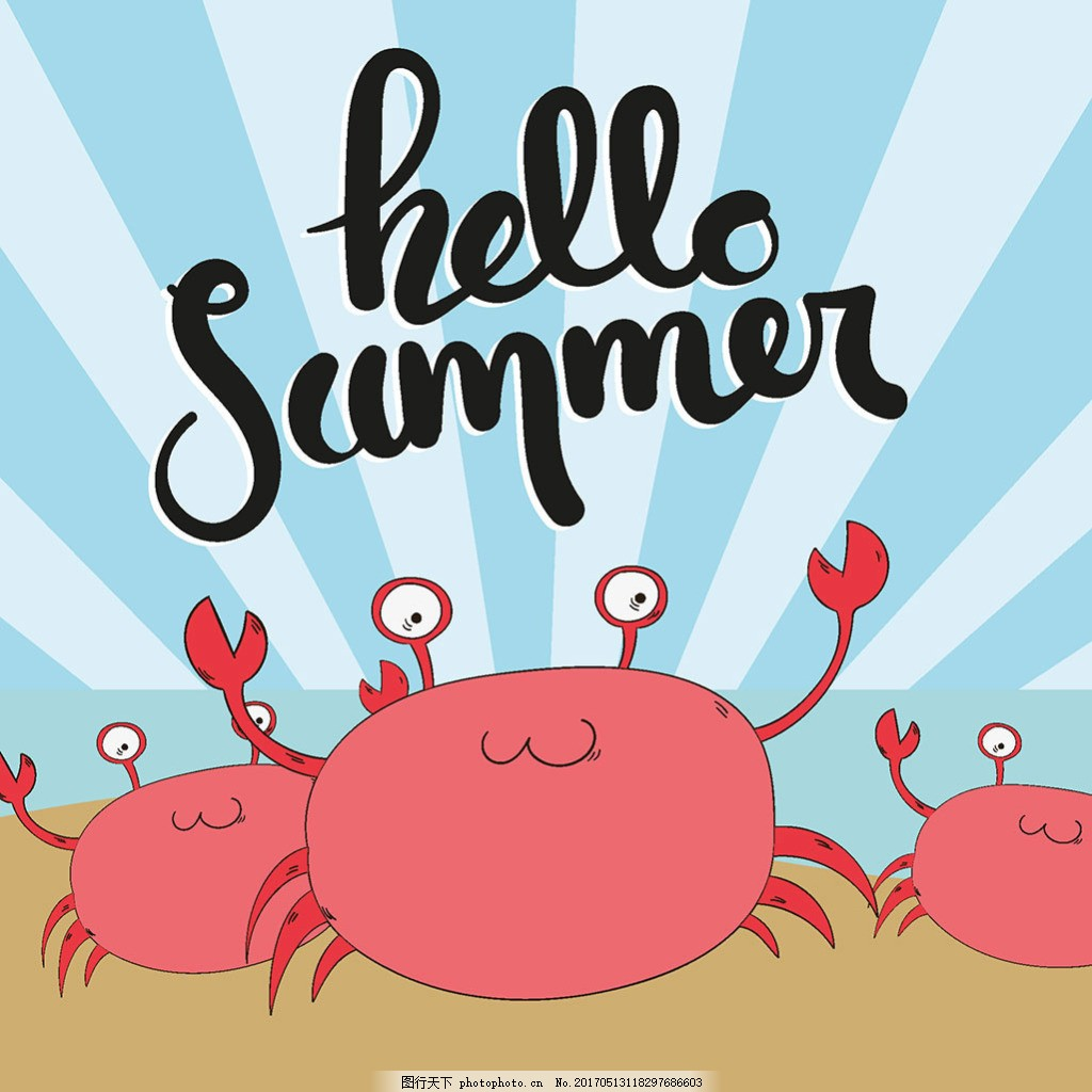 手绘螃蟹夏天背景