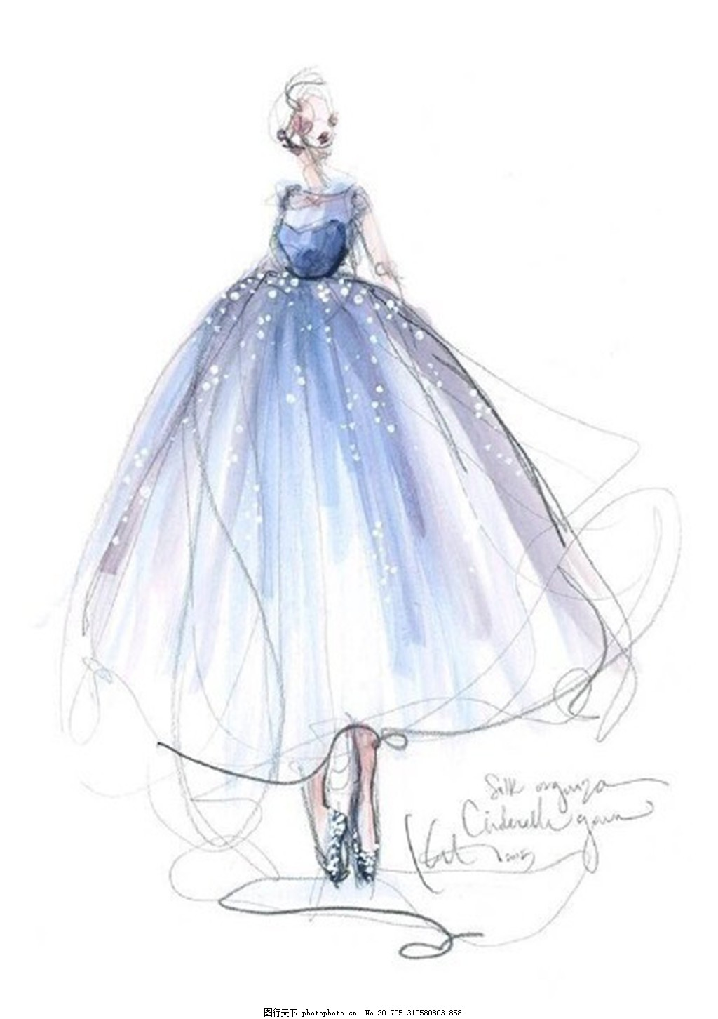 浅蓝色礼服设计图 服装设计 时尚女装 职业女装 女装设计效果图 jpg