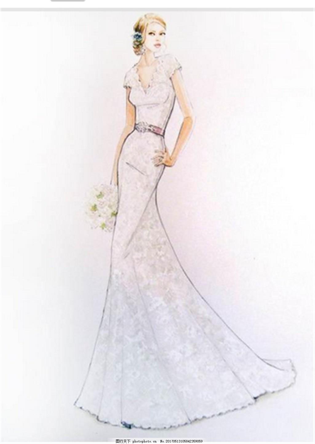 唯美碎花晚礼服设计图 时尚女装 职业女装 女装设计效果图 短裙