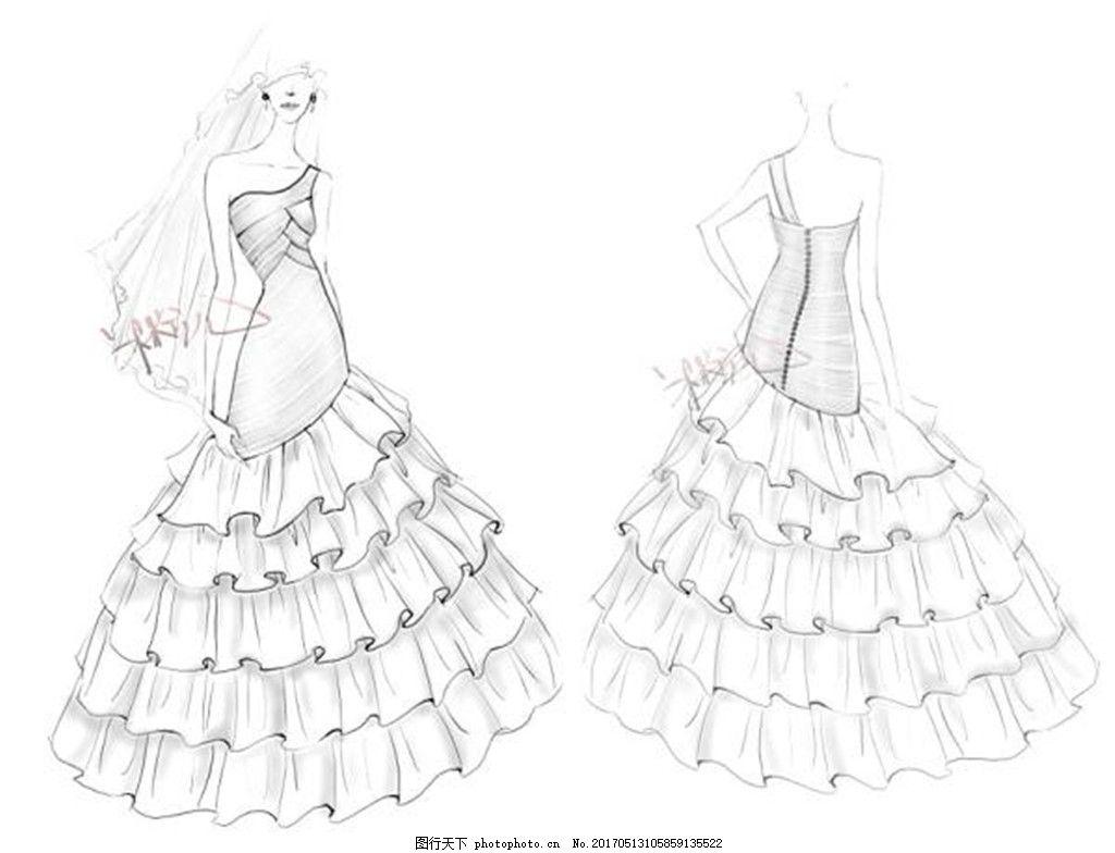 抹胸蓬蓬裙婚纱设计图